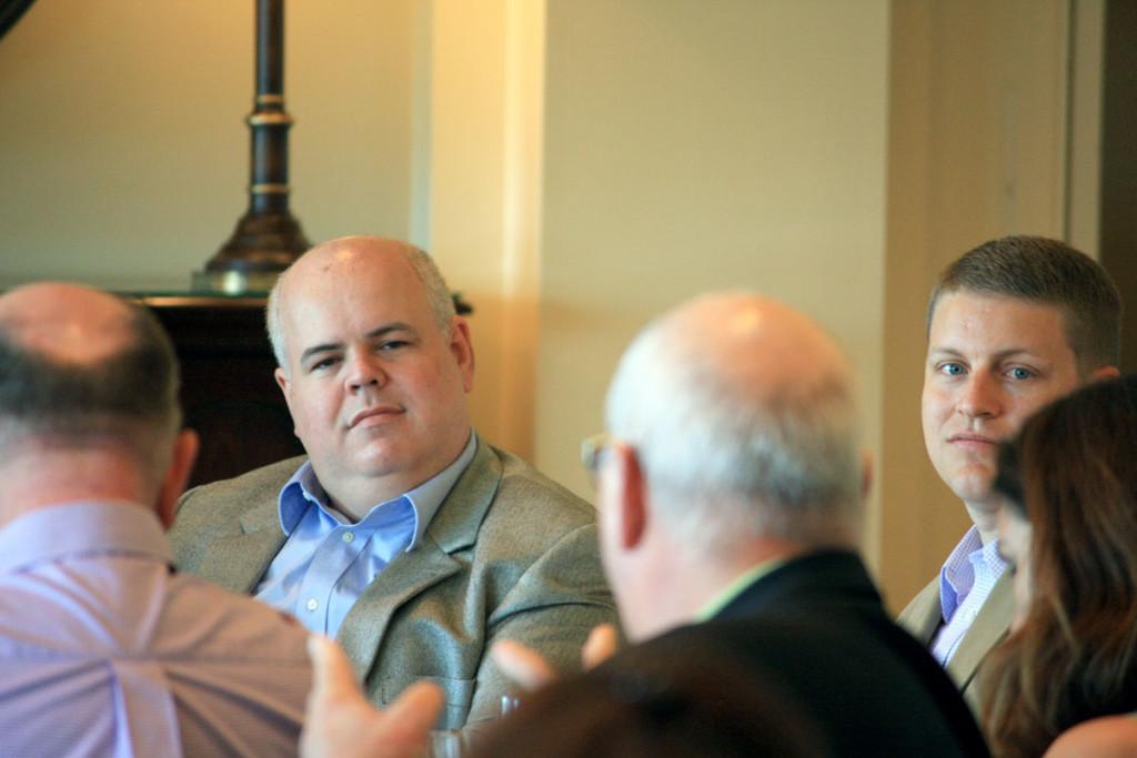 NCDOT's Warren Cooksey receives a question from Payroll Plus' John Hettwer