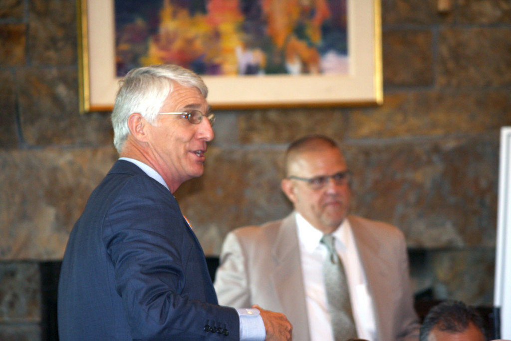 Coffee sponsor Chris Davis of Davidson Wealth Management poses a question to NCDOT Spokesman Warren Cooksey