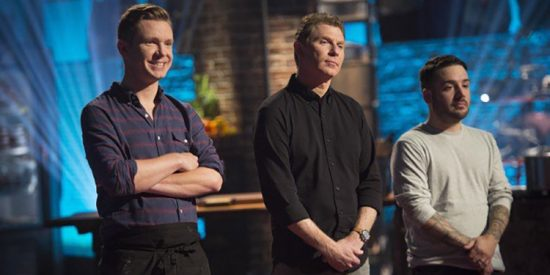 Justin Burke-Samson, left, appeared on 'Beat Bobby Flay'