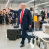 President Donald J. Trump waves as he leaves the stage following the ribbon cutting ceremony October 17, 2019, at the Louis Vuitton Workshop- Rochambeau in Alvarado, Texas. (Official White House Photo by Shealah Craighead)